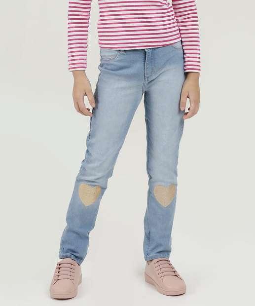 44d9f0100 Calça Infantil Jeans Paetês Coração Marisa