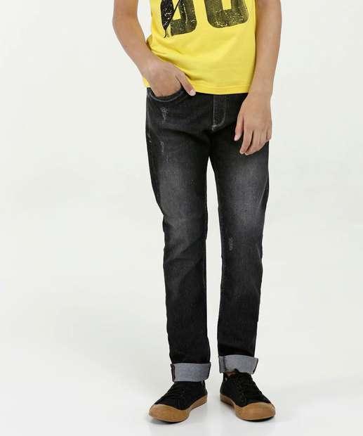 Image_Calça Juvenil Jeans Stretch Puídos