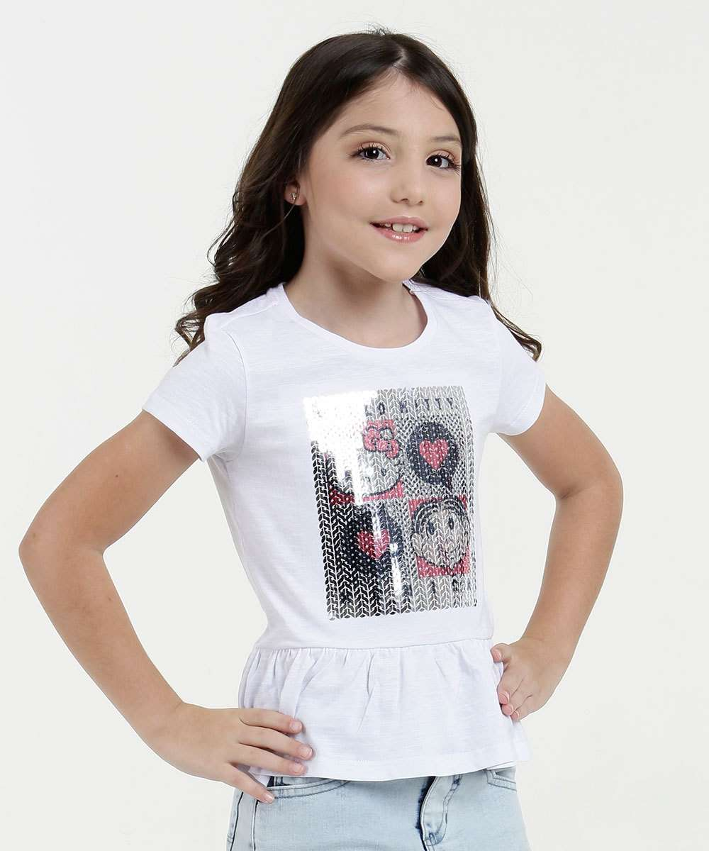 Blusa Infantil Estampa Hello Kitty e Monica Sanrio