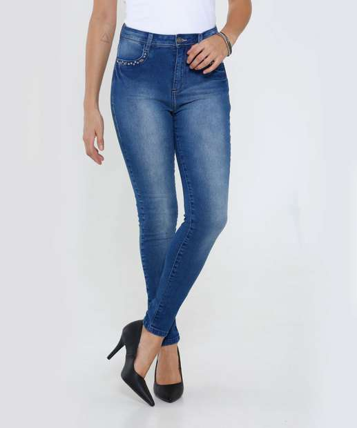 Image_Calça Feminina Skinny Jeans Stretch Tachas Marisa