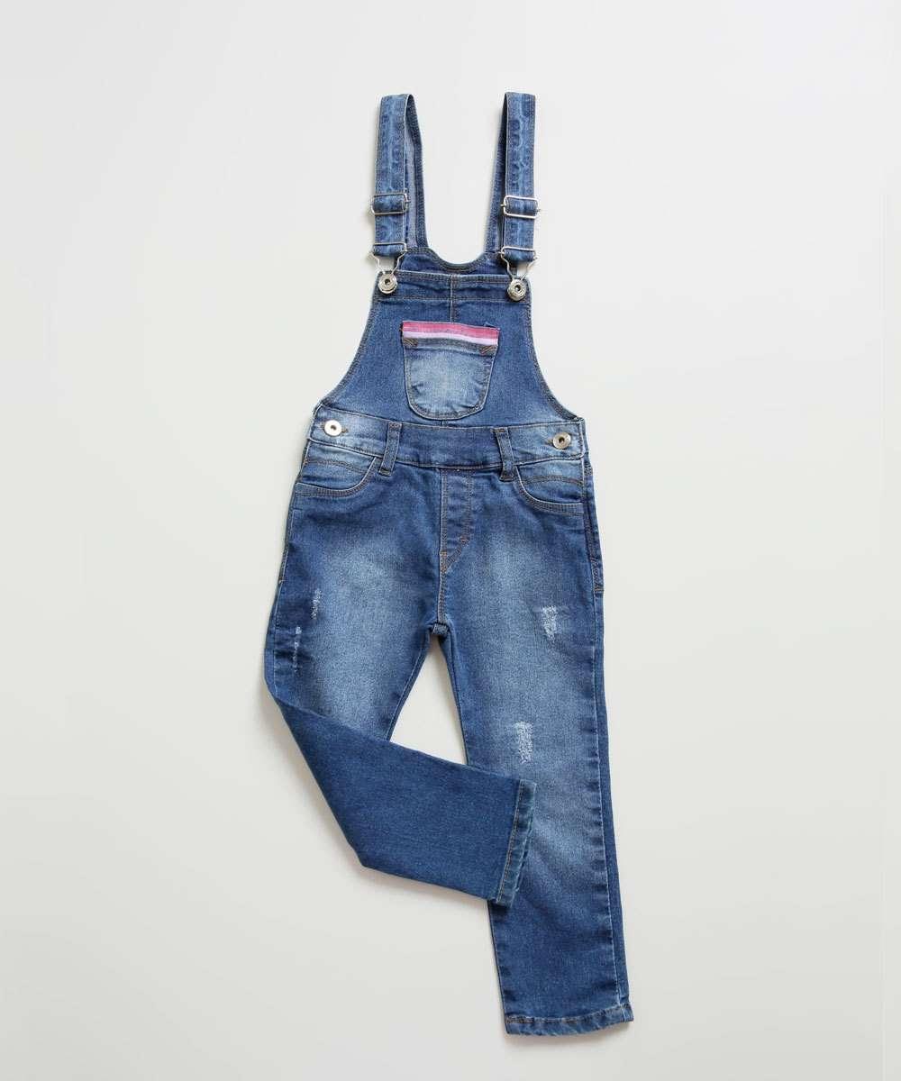 Macacão Infantil Jeans Bolso Frontal Tam 1 a 3