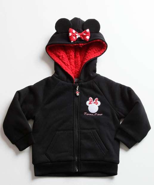 Image_Casaco Infantil Moletom Bordado Minnie Capuz Disney