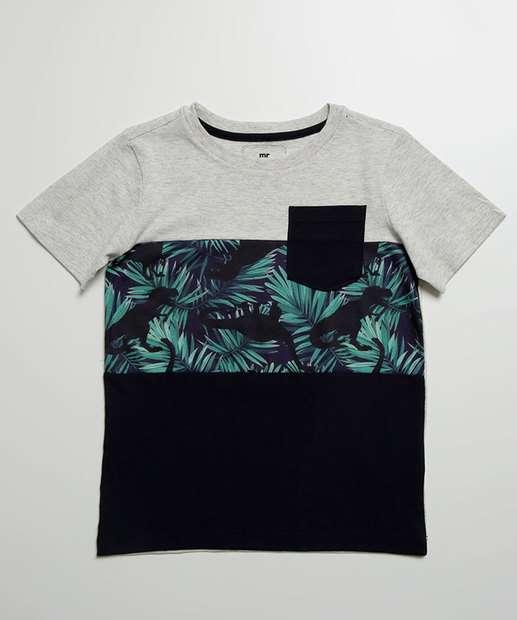 Image_Camiseta Infantil Estampa Folhas Manga Curta MR