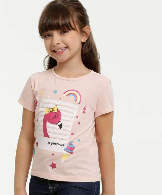 Image_Blusa Infantil Estampa Flamingo Glitter Manga Curta