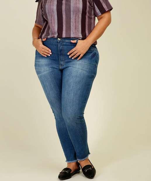 Image_Calça Jeans Skinny Feminina Barra Desfiada Plus Size Razon
