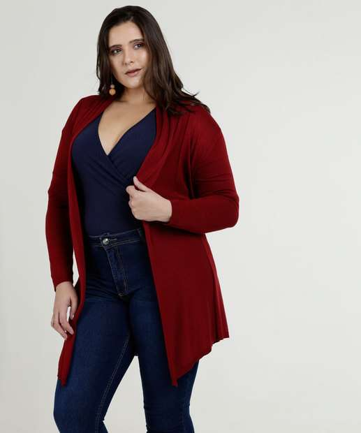 Image_Cardigan Feminina Alongado Amarração Plus Size Marisa