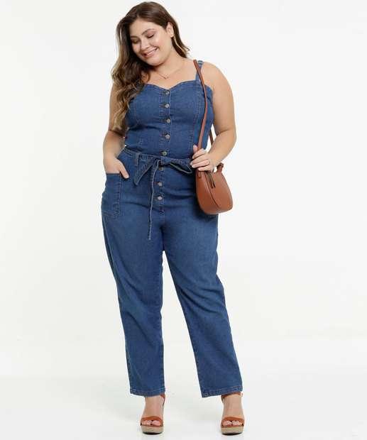 Image_Macacão Plus Size Feminino Jeans Amarração Alças Finas