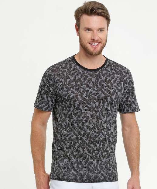 Image_Camiseta Masculina Devorê Estampa Folhas MR
