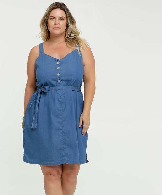 Image_Vestido Feminino Jeans Tiras Amarração Plus Size Marisa