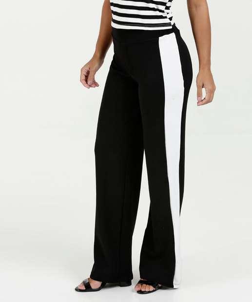 Image_Calça Feminina Pantalona Textura Faixa Luckiness