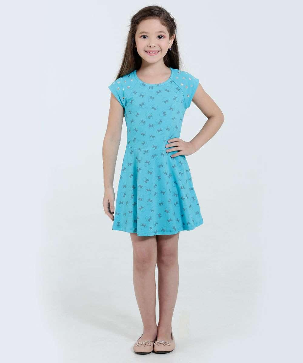 Vestido Infantil Estampa Minnie Tachas DisneyVestido infantil ideal para meninas 04 até 12 anos, confeccionado em tecido...