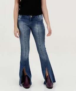 Calça Juvenil Jeans Flare Fenda