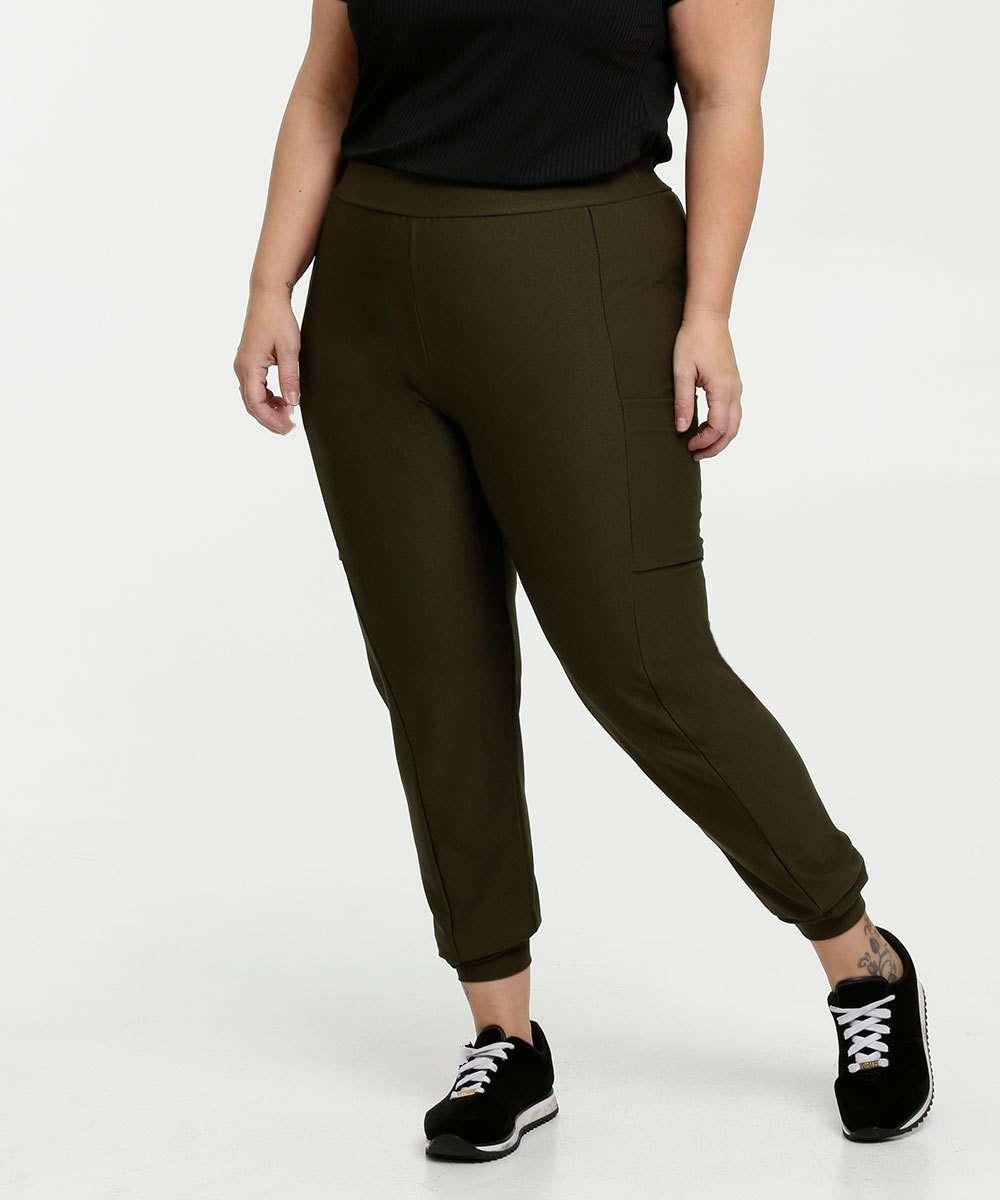 Calça Feminina Piquet Jogger Bolsos Plus Size