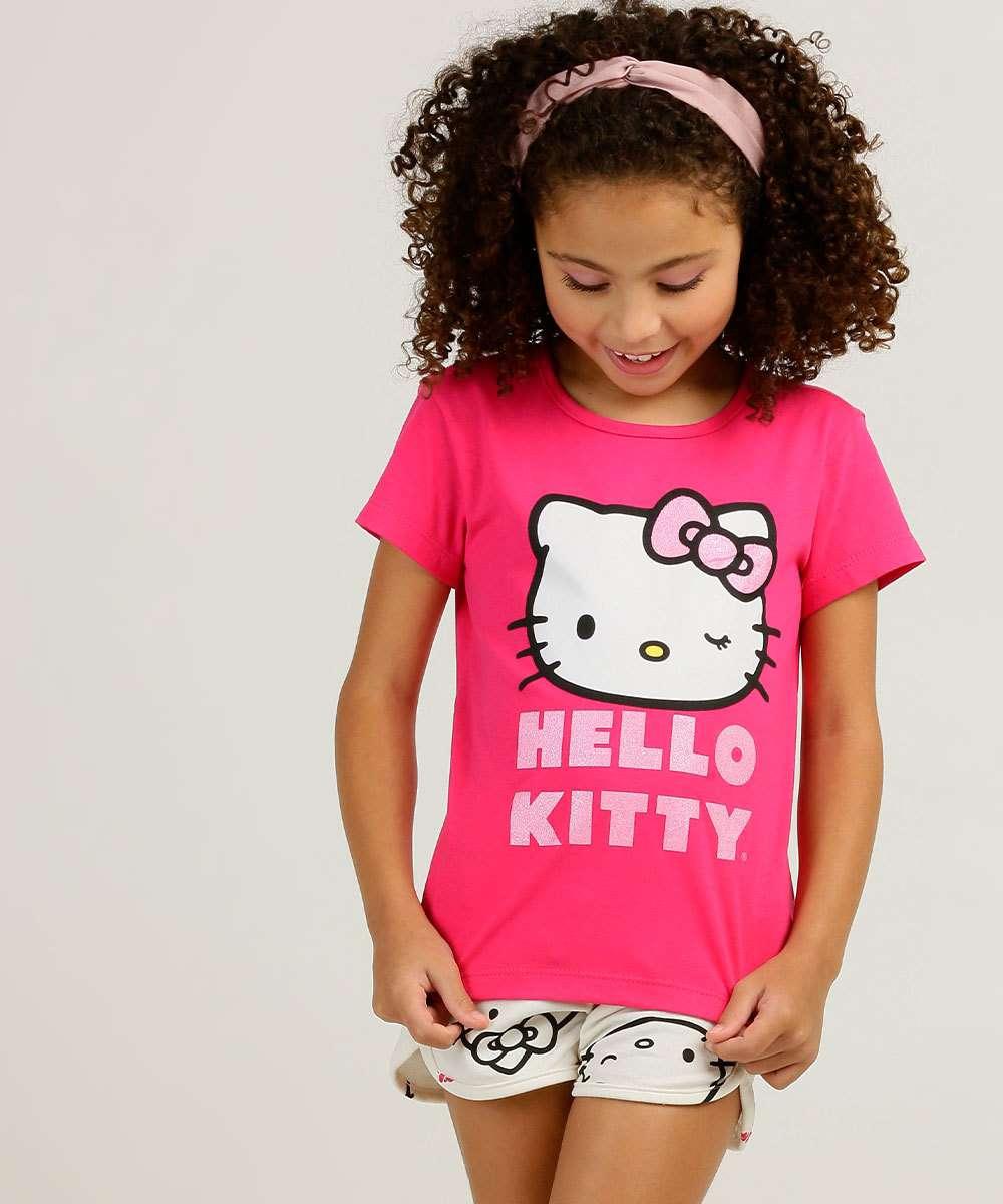 Conjunto Infantil Manga Curta Hello Kitty Sanrio Tam 4 a 10