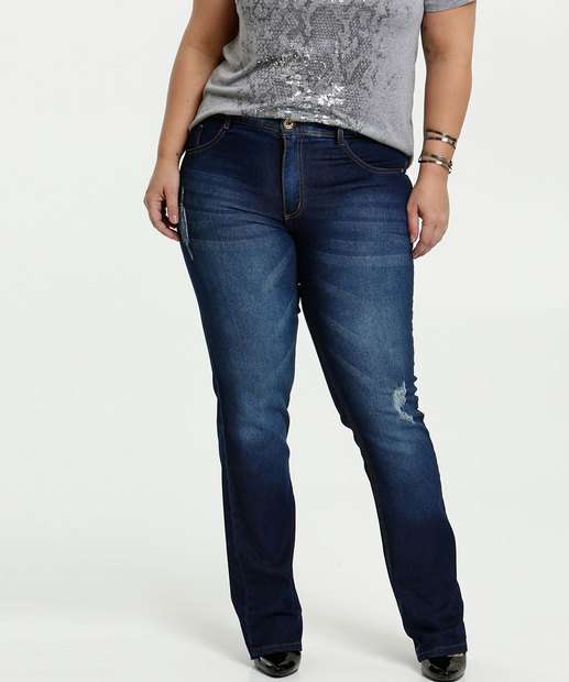 Image_Calça Feminina Jeans Puídos Reta Plus Size Biotipo