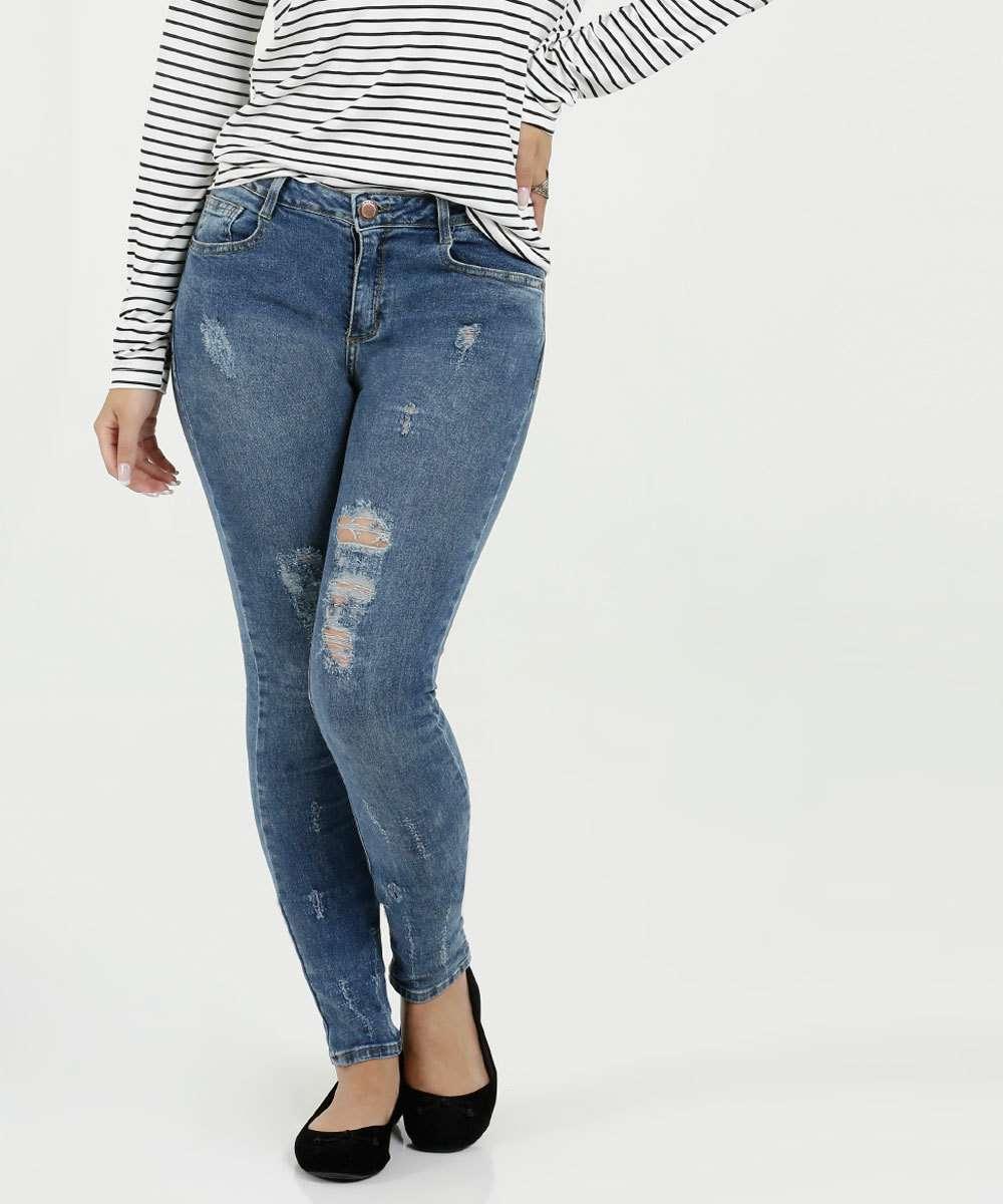 Calça Feminina Jeans Skinny Destroyed Marisa
