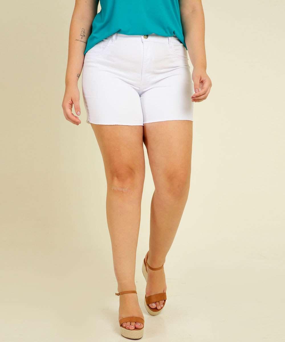Short Plus Size Feminino Sarja Cintura Alta Bolsos Razon