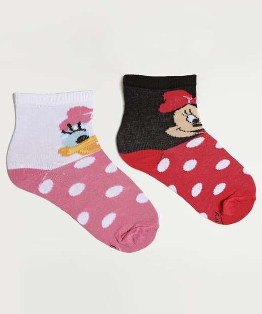Image_Kit 2 Meias Infantil Soquete Minnie Margarida Disney