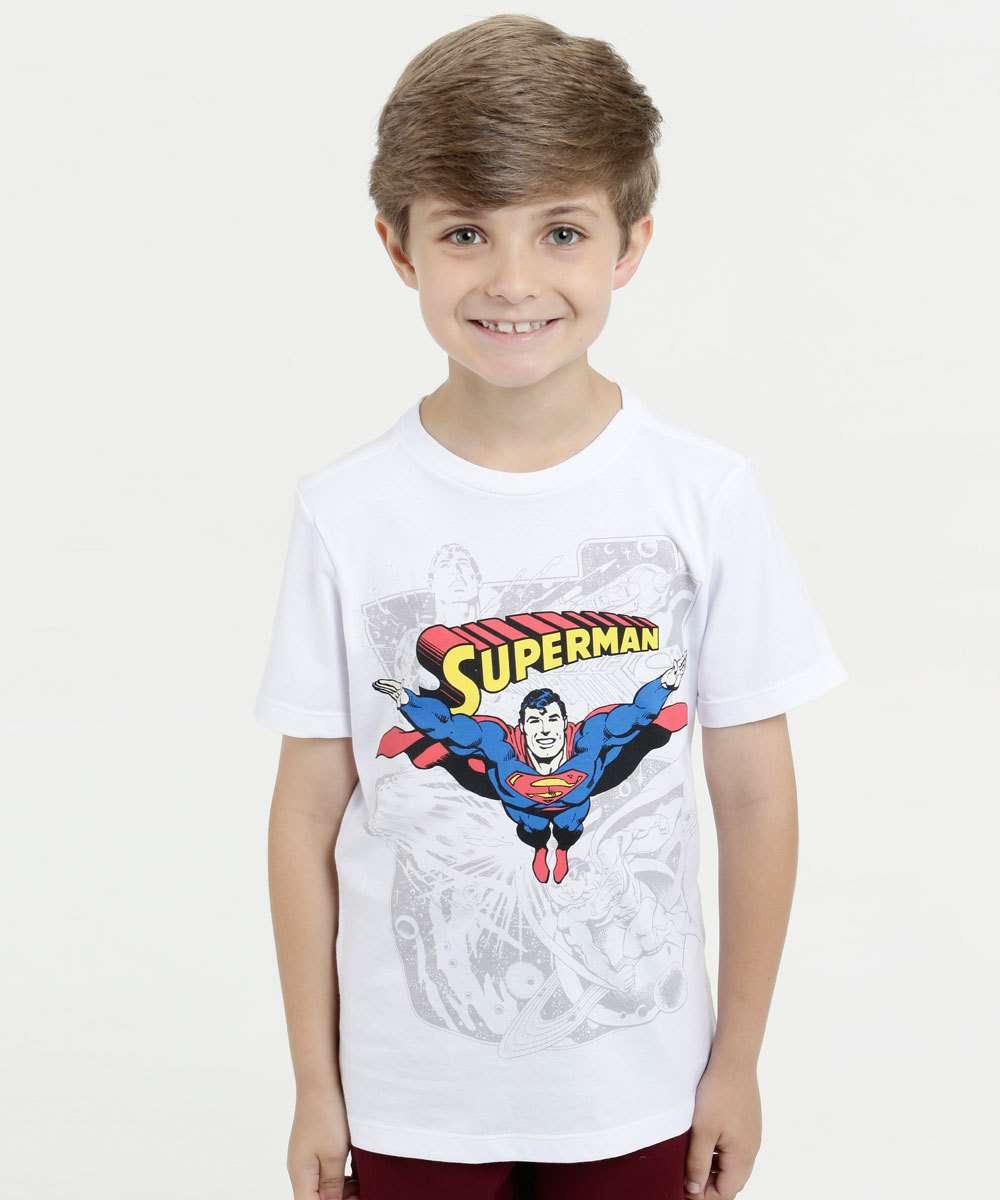 Camiseta Infantil Super Homem Manga Curta Liga da Justiça