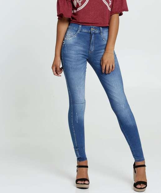 Image_Calça Jeans Stretch Pérolas Skinny Feminina Biotipo