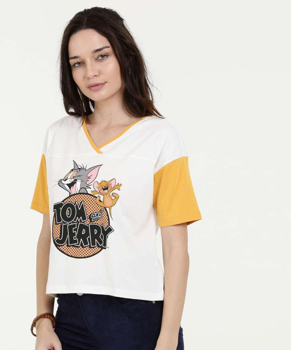 Blusa Feminina Estampa Tom E Jerry Manga Curta Warner