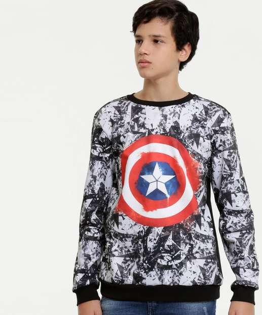 Image_Blusão Juvenil Moletinho Estampa Capitão America Marvel