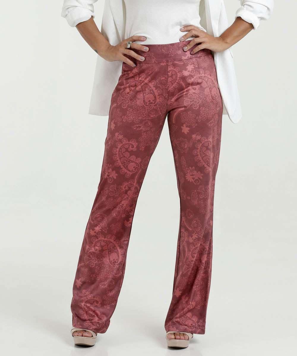 712f9fab5f Menor preço em Calça Feminina Pantalona Suede Estampa Paisley Marisa