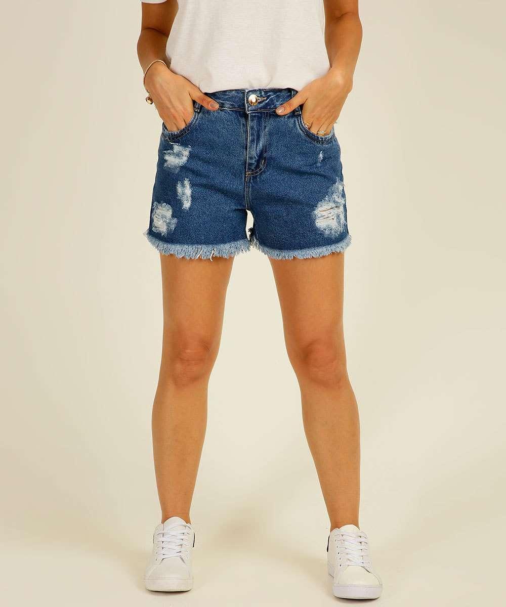 Short Jeans Feminino Destroyed Barra Desfiada Sawary