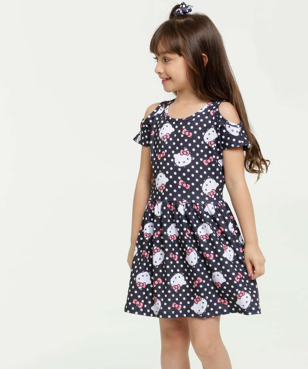 Vestido Infantil Open Shoulder Estampa Hello Kitty Sanrio