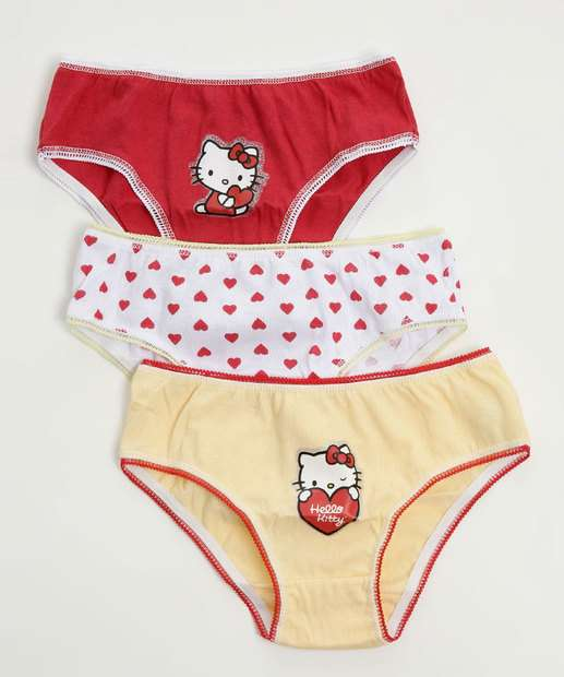 Image_Kit 3 Calcinhas Infantil Estampa Hello Kitty
