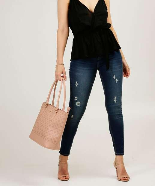 Image_Calça Jeans Skinny Feminina Puídos Cintura Alta Sawary