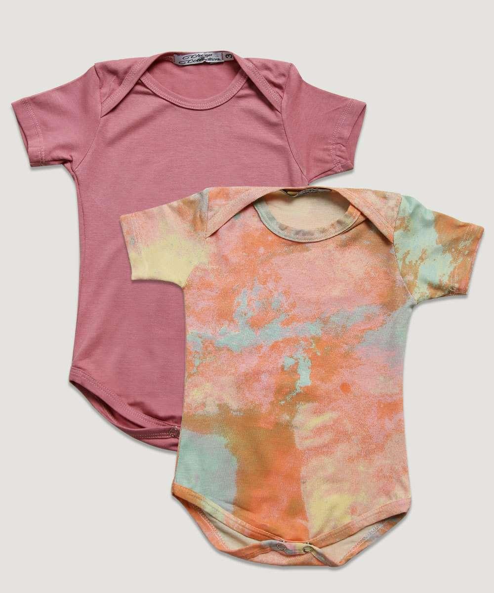 Kit 2 Bodies Infantil Bebê Tie Dye Tam 3 a 12 Meses