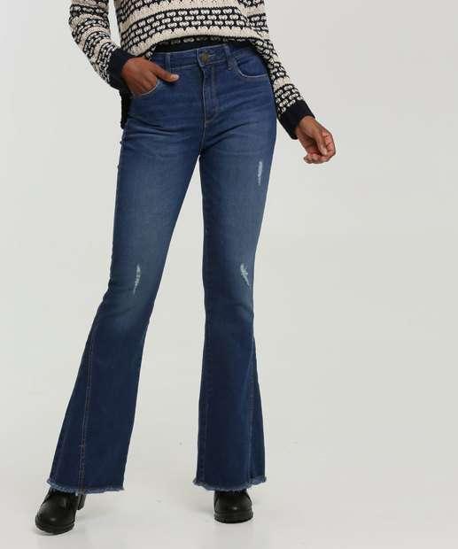 Image_Calça Jeans Puídos Flare Feminina Bolsos Marisa