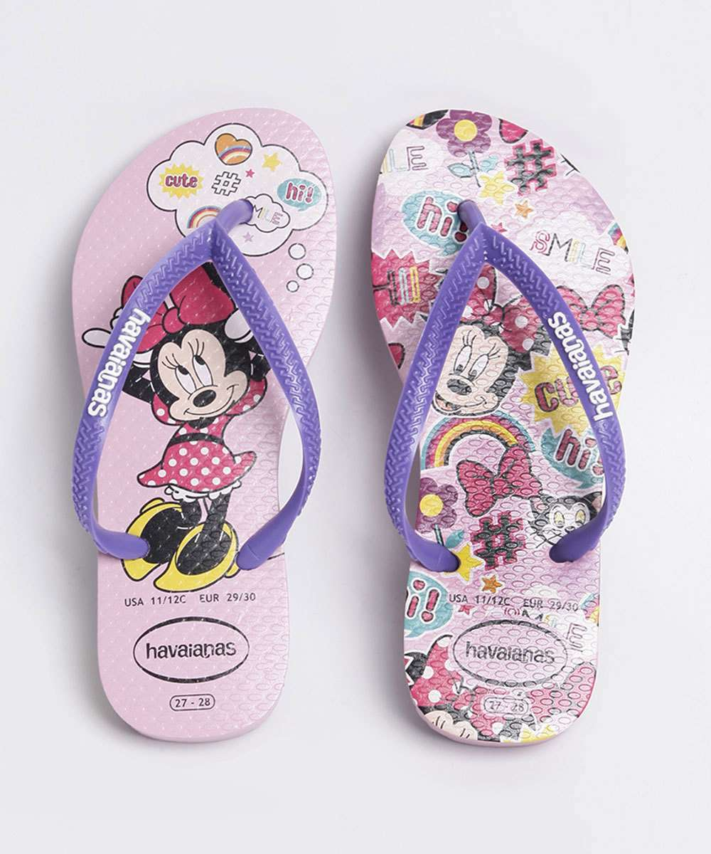 Chinelo Havaianas Infantil Slim Estampa Minnie Disney