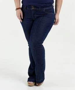 Calça Feminina Jeans Flare Plus Size Cintura Alta Marisa