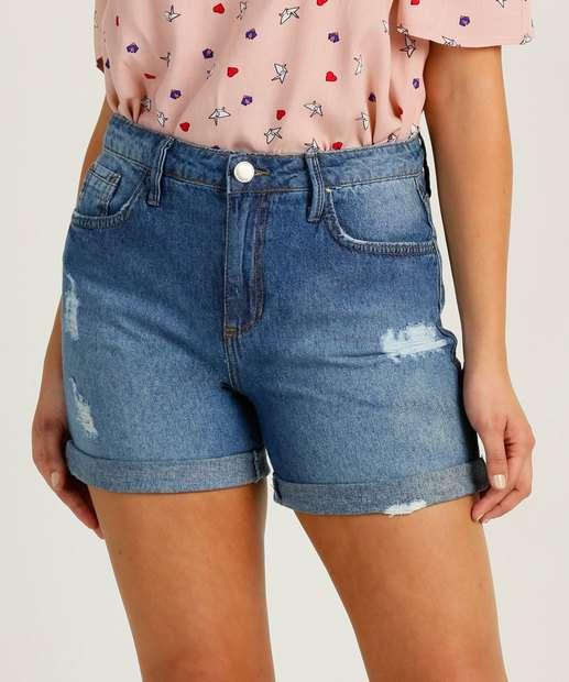 Image_Short Feminino Jeans Destroyed Cintura Alta Marisa
