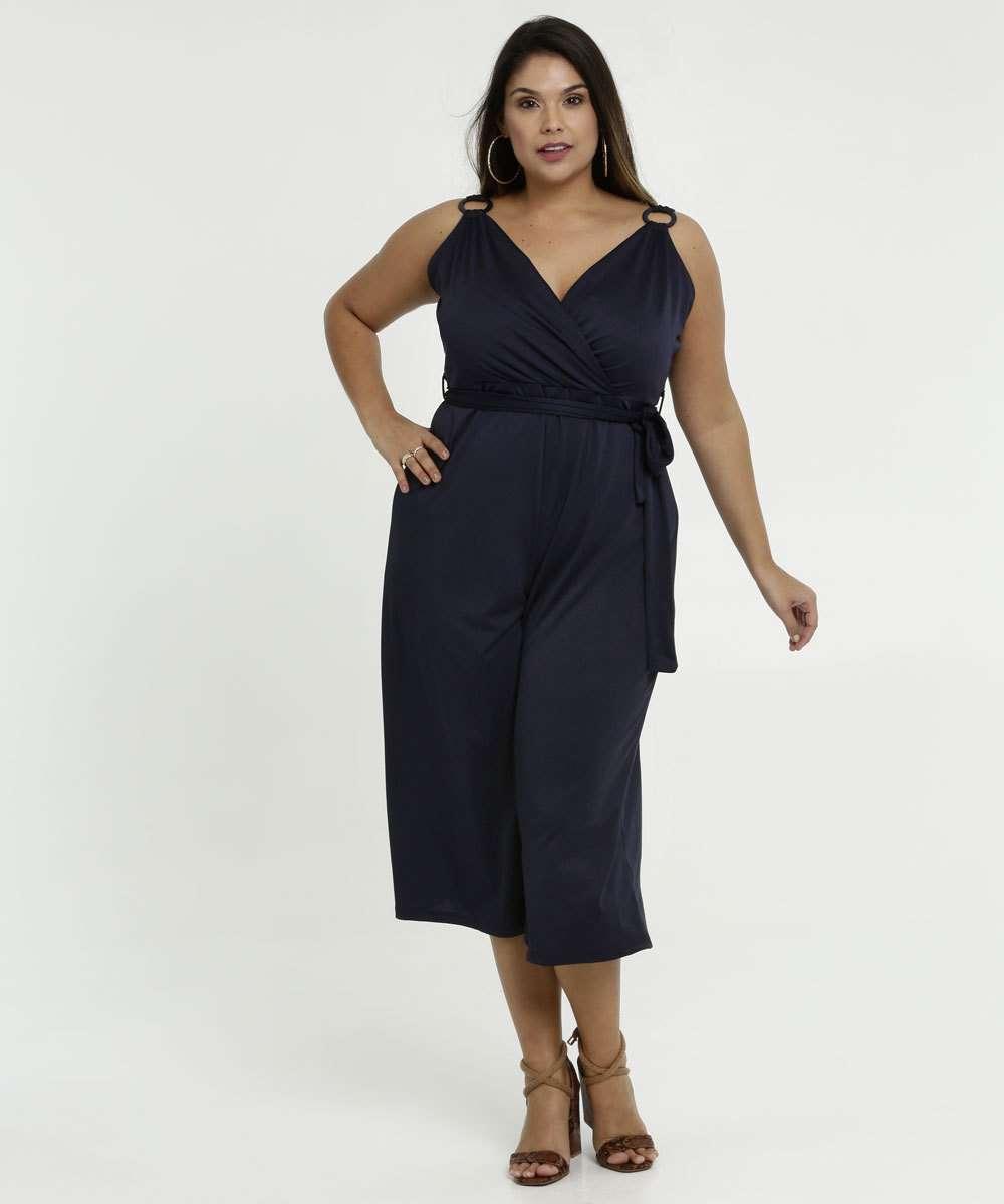 Macacão Feminino Pantacourt Plus Size Alças Finas Marisa