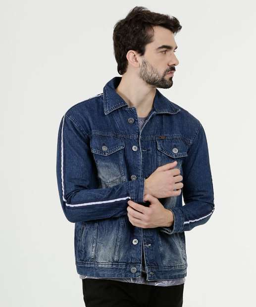 Image_Jaqueta Masculina Jeans Listras Rock & Soda