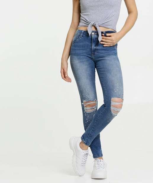 Image_Calça Feminina Jeans Skinny Destroyed Strass Biotipo