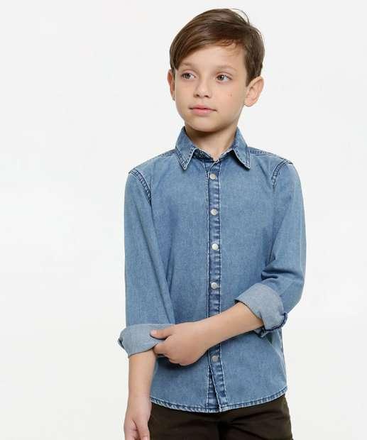 Image_Camisa Infantil Jeans Manga Longa MR