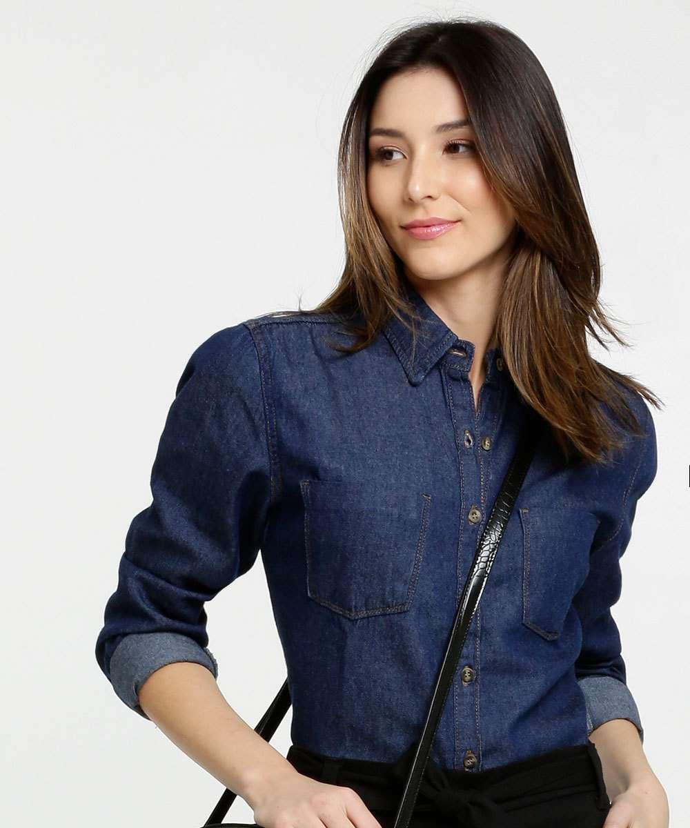 Camisa Feminina Jeans Botões Manga Longa Marisa