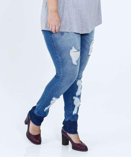 Image_Calça Feminina Jeans Skinny Puídos Bordado Plus Size Mix Jeans