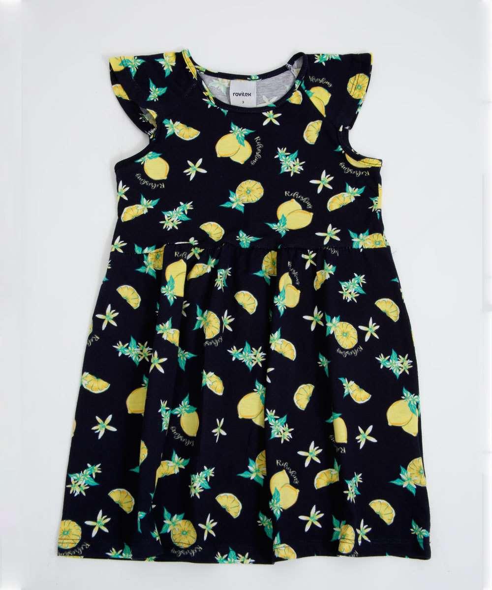 Vestido Infantil Sem Manga Limões Tam 1 a 3
