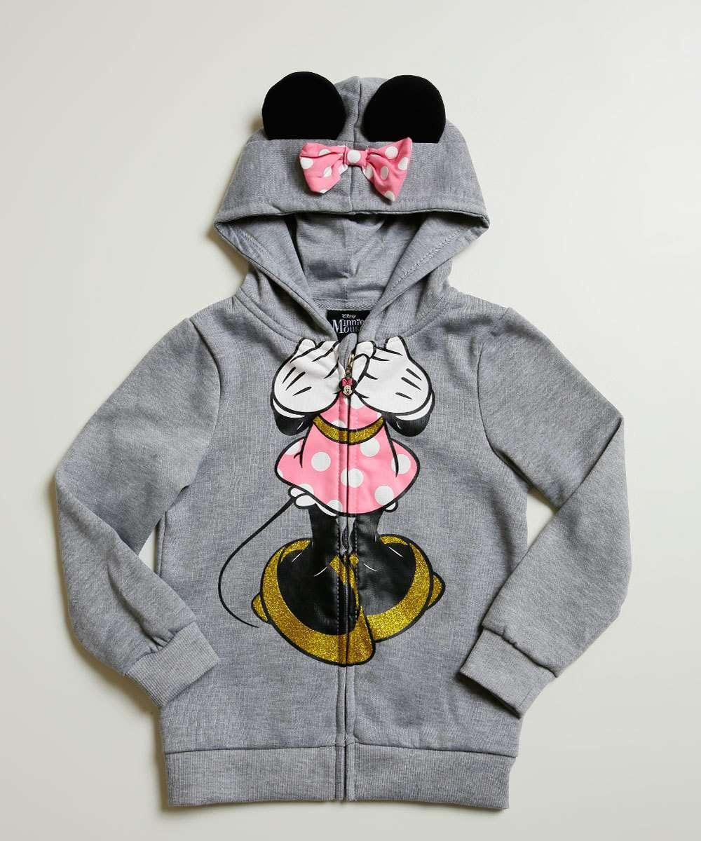 Casaco Infantil Estampa Minnie Capuz Disney Tam 4 a 10