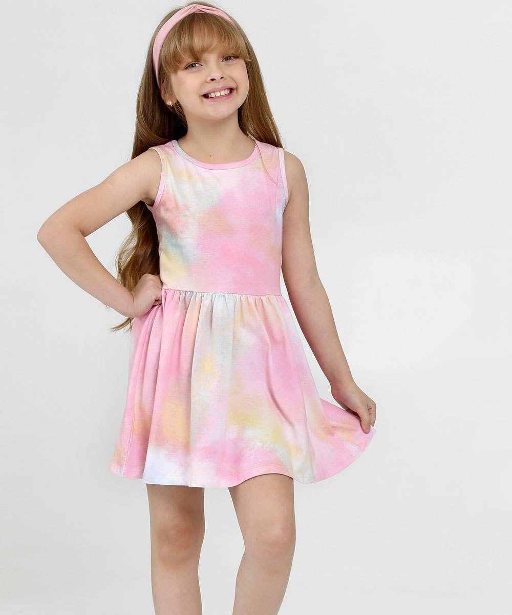 Vestido Infantil Estampa Tie Dye Sem Manga Marisa