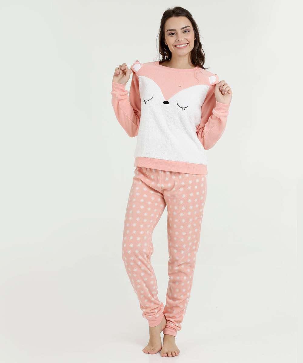 Pijama Feminino Estampa Raposa Manga Longa Marisa