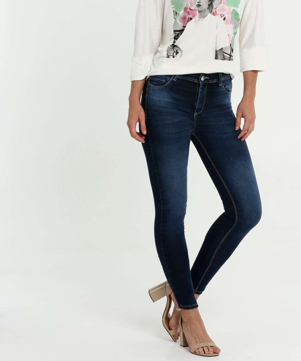 Calça Feminina Jeans Skinny Cintura Média Sawary