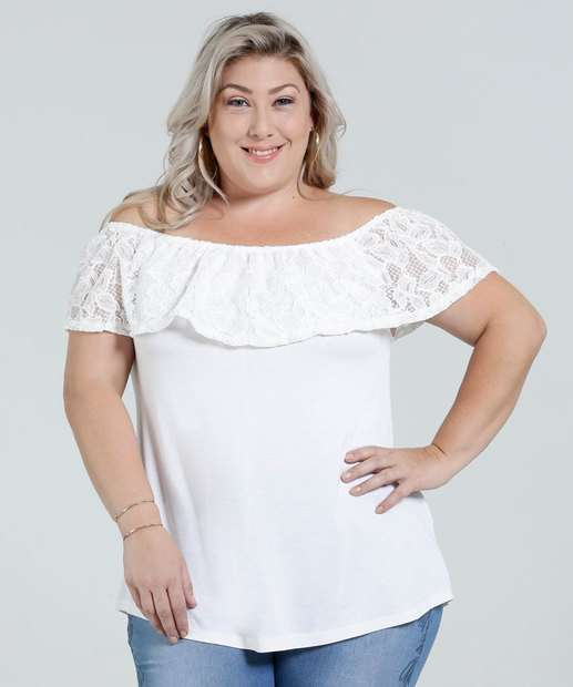 Image_Blusa Feminina Ombro a Ombro Renda Plus Size Marisa