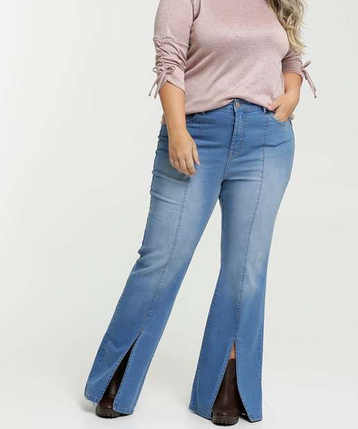 Image_Calça Jeans Flare Feminina Fenda Plus Size Marisa
