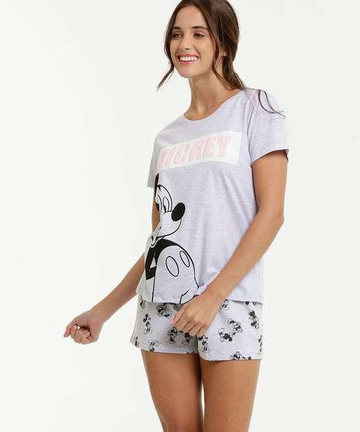 Image_Pijama Feminino Estampa Minnie e Mickey Manga Curta Disney